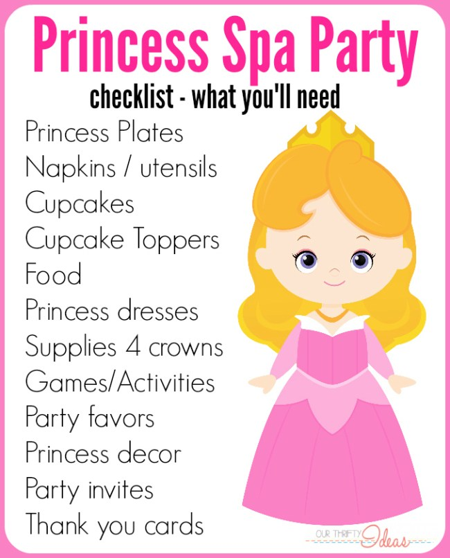 princess spa party checklist
