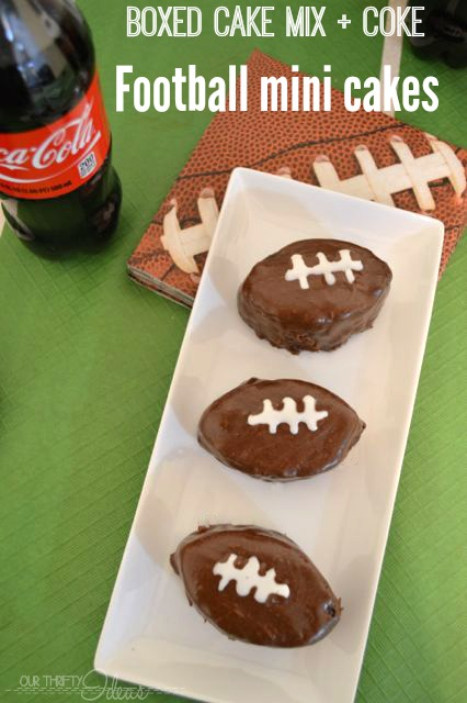 Boxed Cake Mix and Coke make THE BEST red velvet cake. Create Football shaped mini cakes for your next Football party