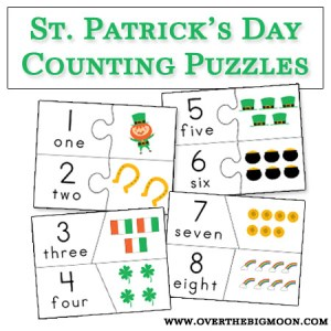 St. patrick's day Counting Puzzles - Free Printable