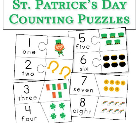 St Patrick's Day Counting Puzzles – Free Printable