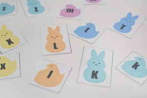 ABC matching peep game. Perfect for toddlers to learn their upper and lower case letters.