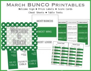 March Shamrock BUNCO printable pack