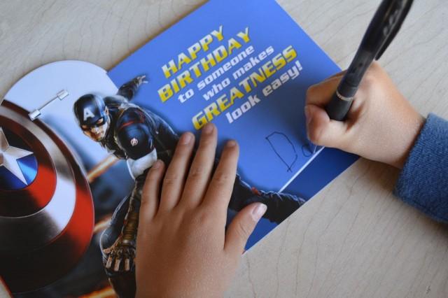Writing a birthday card