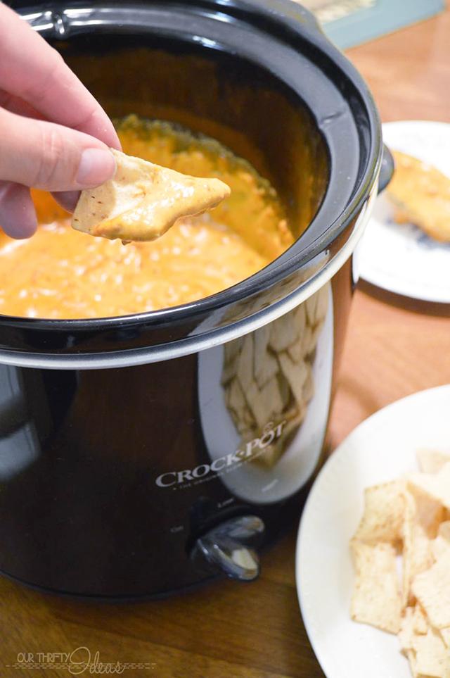 chili con queso in a crockpot