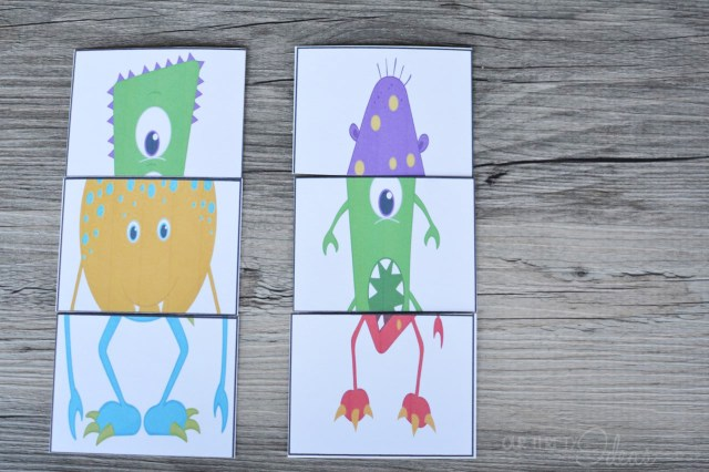 Mend a Monster card game, free printable at OurThriftyIdeas.com