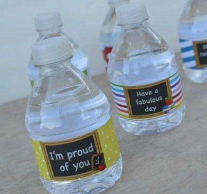 Back To School Water Bottle Labels & Healthy Lunch Idea