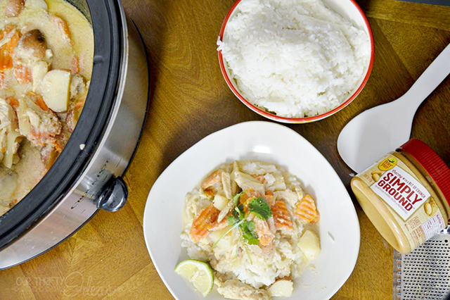 Cook this homemade massaman Thai curry in the crockpot. All it takes is 15 minutes (or less!) of prep and this delicious meal is waiting for you at the end of a busy day!