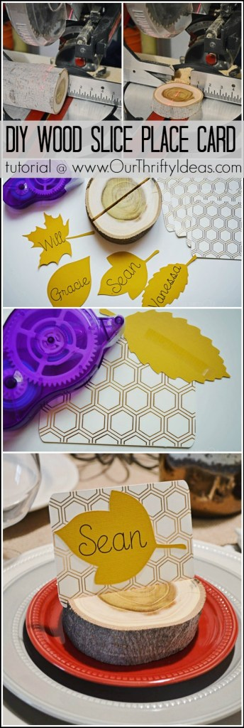 DIY Wood Slice Place Card Holder