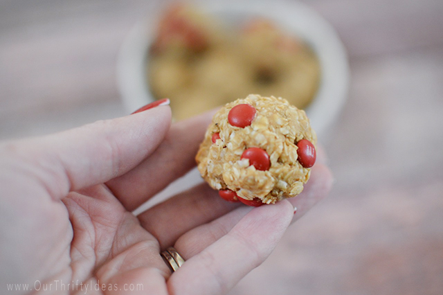 Peanut Butter Oatmeal Bites with M&Ms