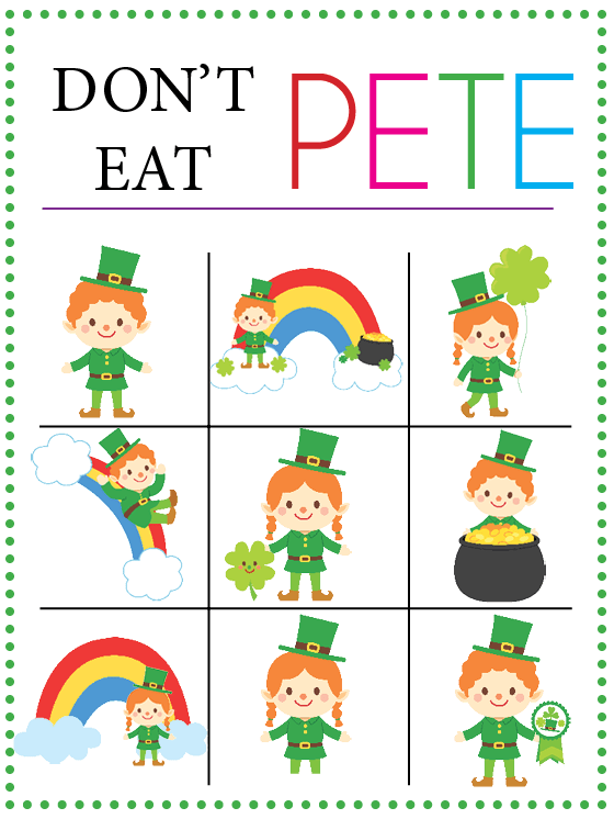 picture relating to Don T Eat Pete Printable named St. Patricks Working day Dont Try to eat Pete - Our Thrifty Options
