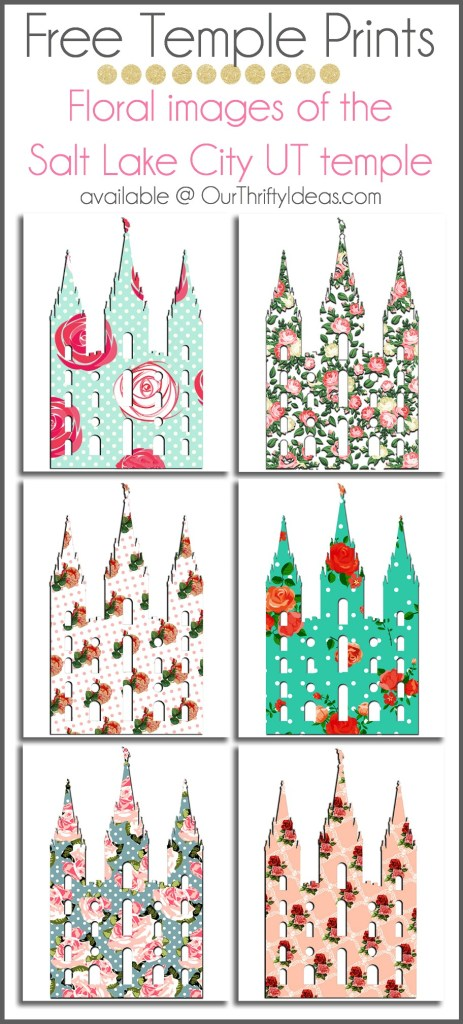 Free Floral Prints of the Salt Lake City Temple. Just download them to your computer and print it out.