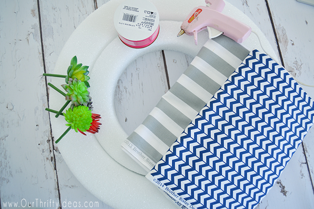Create a Summer Succulent Wreath made with strips of fabric on a styrofoam wreath form