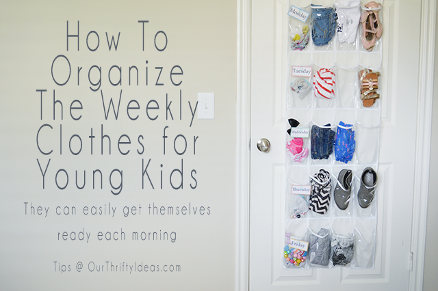 The best way to organize clothes for school. Young kids can easily get themselves ready each morning using this method.