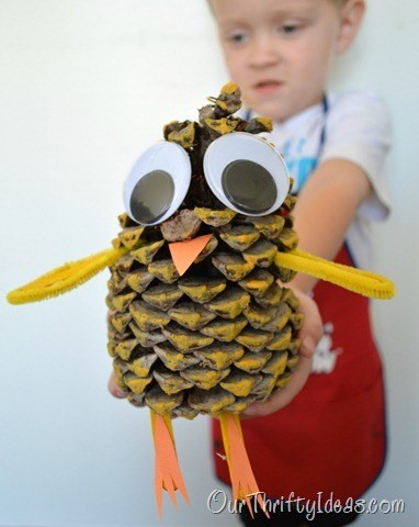 Pinecone animals craft for kids