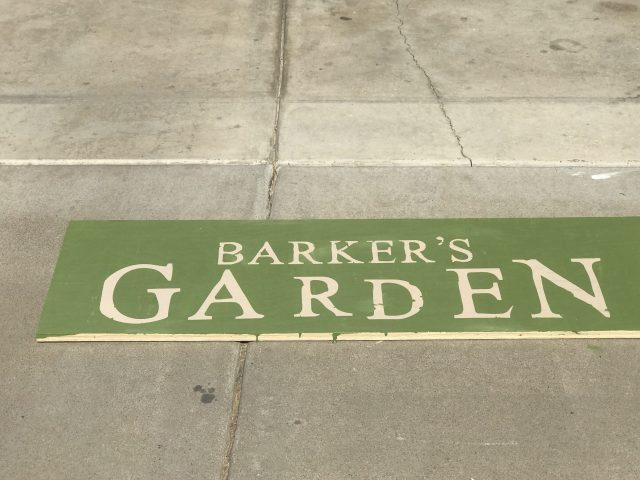 Barker's Garden sign to customer your garden