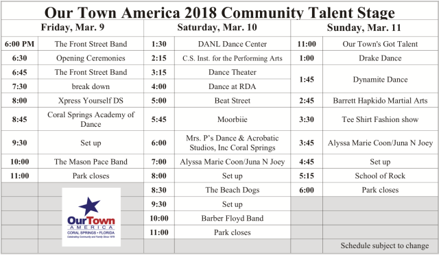 Community Talent Stage Schedule 2018