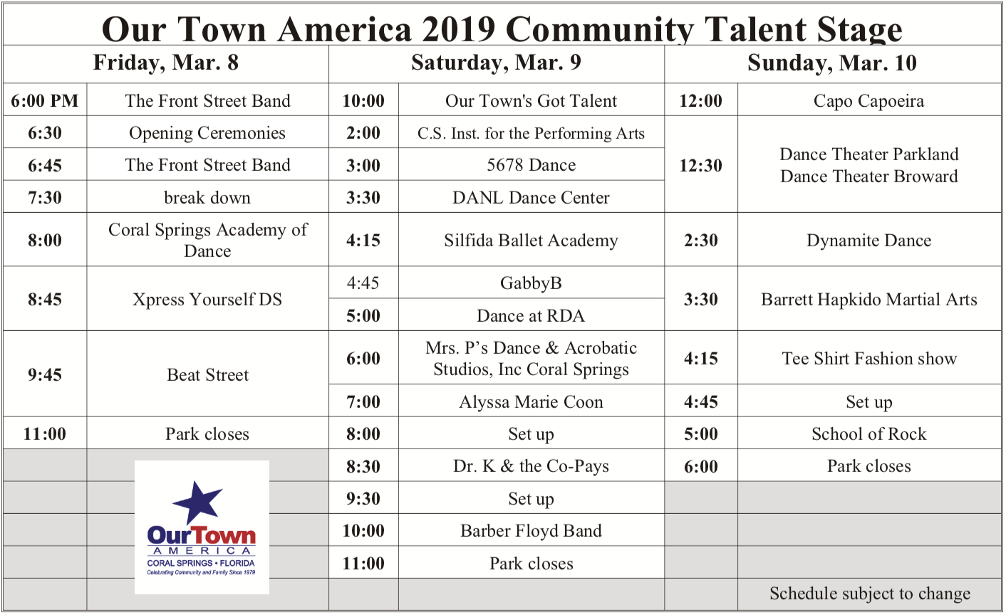 Community Talent Stage Schedule 2019