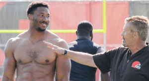 Myles Garrett and Gregg Williams
