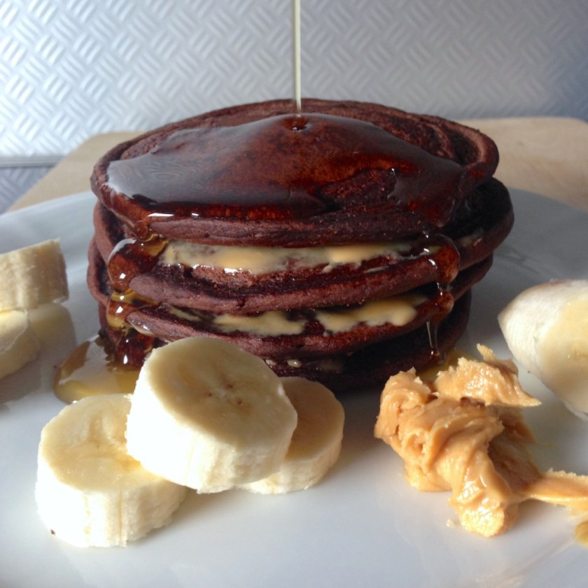 vegan chocolate peanut butter pancakes