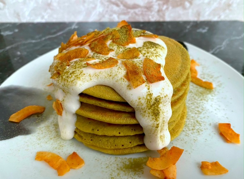 Matcha Pancakes with Coconut Bacon