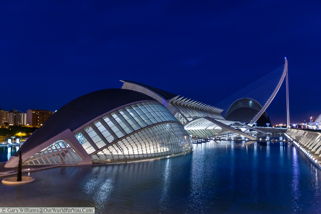 The Hemisferic, in the City of Arts & Science, after dusk, Valencia, Spain