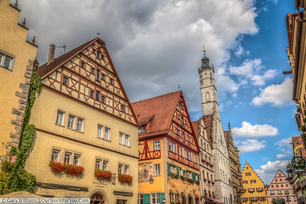 Herrngasse toward Marktplatz, Rothenburg ob der Tauber, Bavaria, Germany