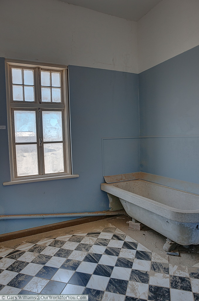 A bathroom in one of the homes in Kolmanskop, Namibia