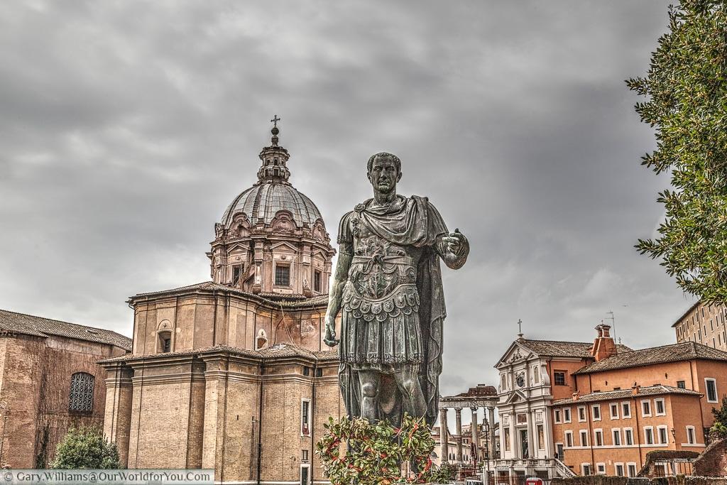 Julias Caesar and Chiesa dei Santi Luca e Martina, Rome, Italy