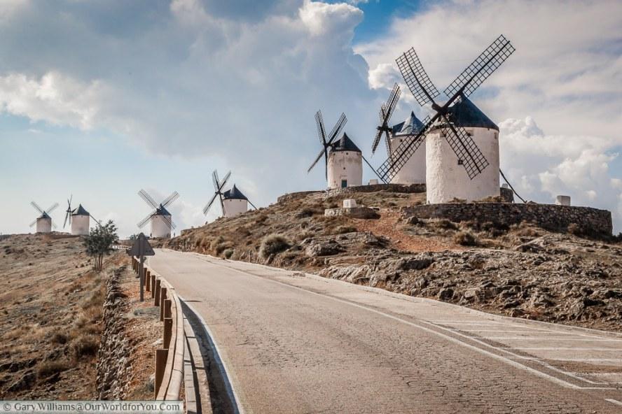 Seven of the windmills overlooking Consuegra, La Mancha, Spain