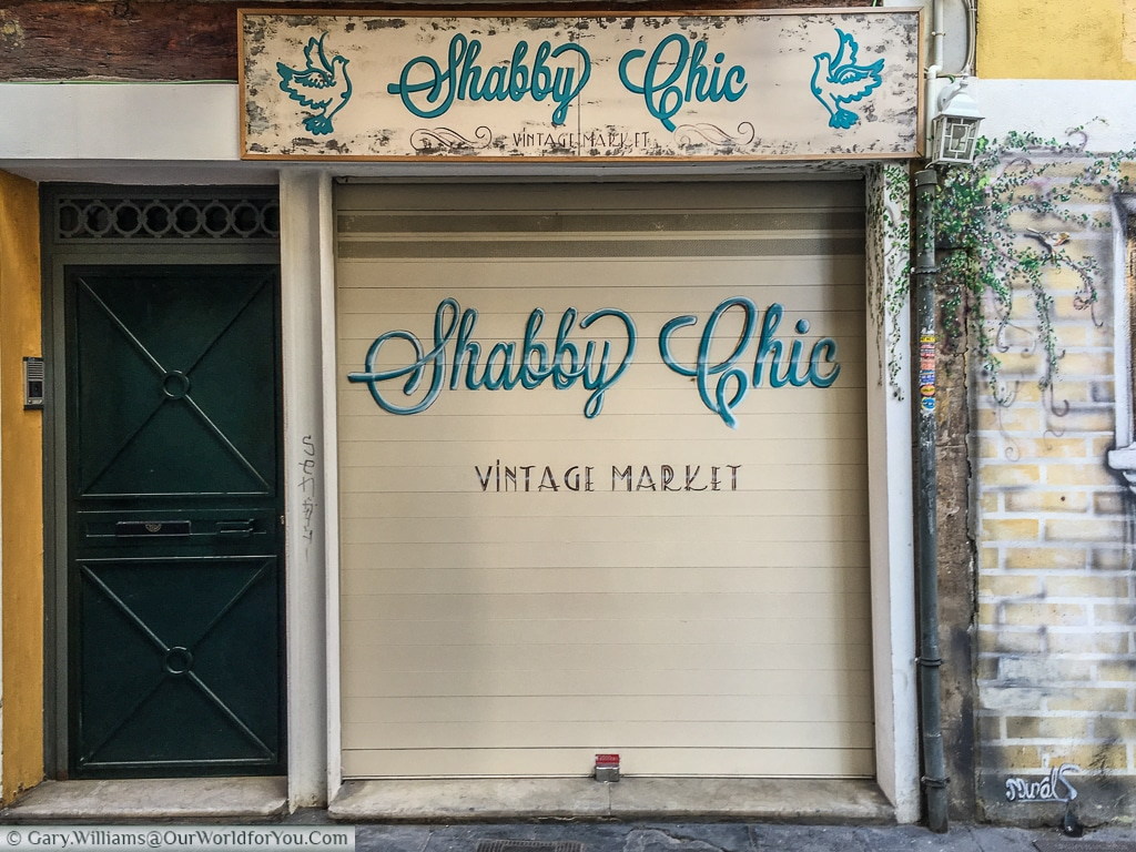 The entrance to Shabby Chic a little boutique in Valencia, Spain