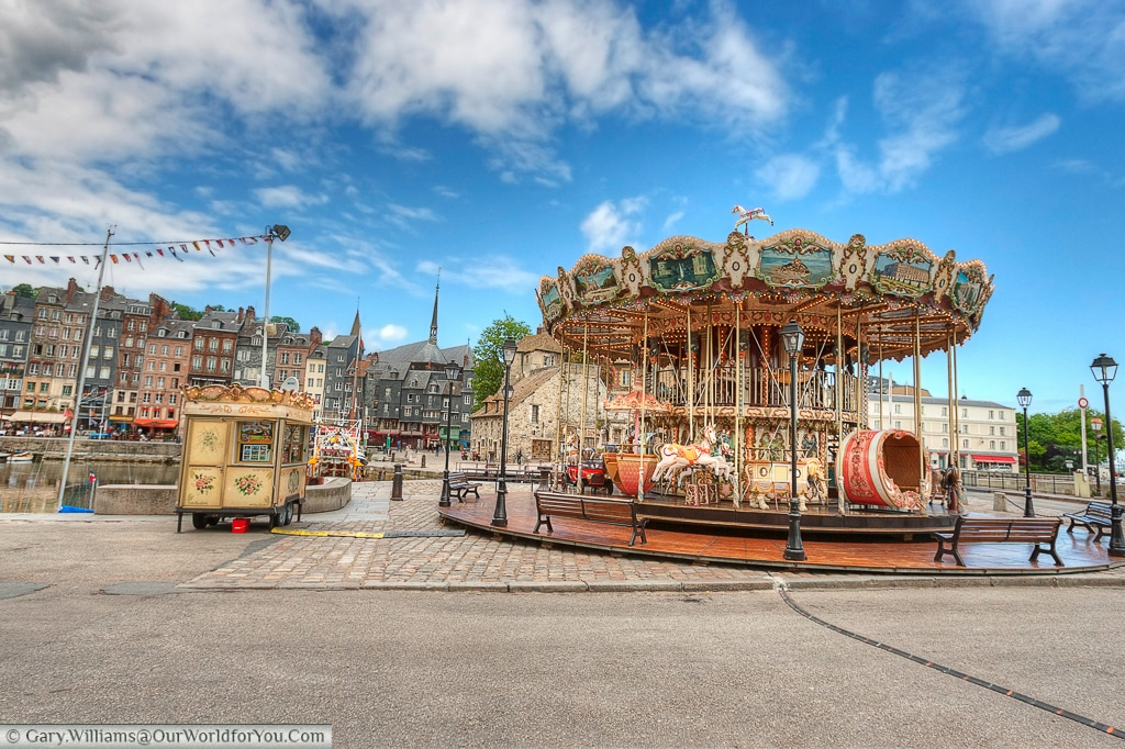 The Carousel, beside the harbour in Honfleur, France
