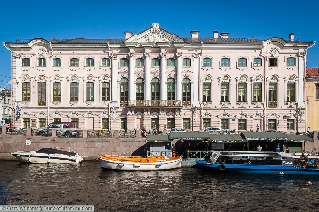 The Stroganov Palace sitting on the banks of the Moyka river, just off the Nevsk Prospect, St Petersburg, Russia