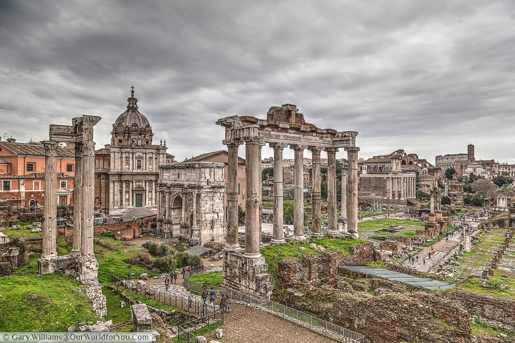 The view across the forum from Capitoline Hill, Rome, Italy