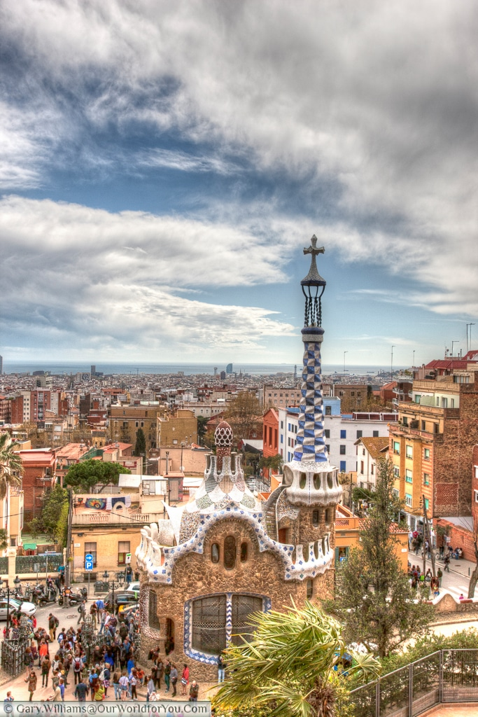 The view over Porters Lodge, Park Güell, Barcelona, Spain