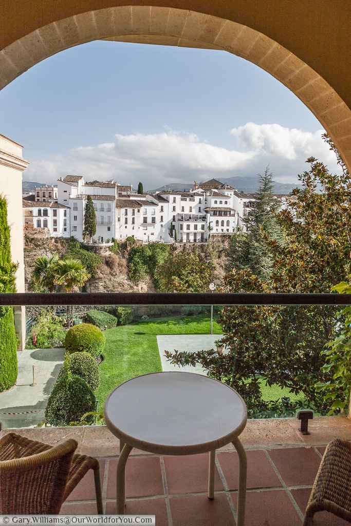 The view from our room's balcony at the Parador de Ronda, Spain