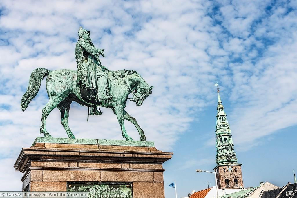 The equestine statue of Frederick VII in Palace Square, Copenhagen, Denmark