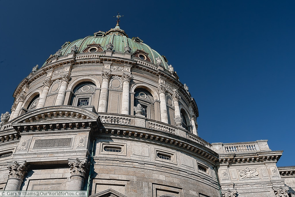 Up close view of the Marble Church, Copenhagen, Denmark