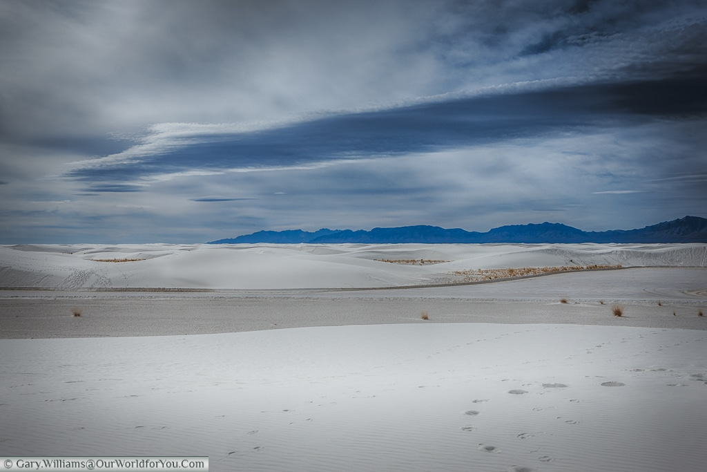Mountains in the distance of the White Sands National Monument, New Mexico