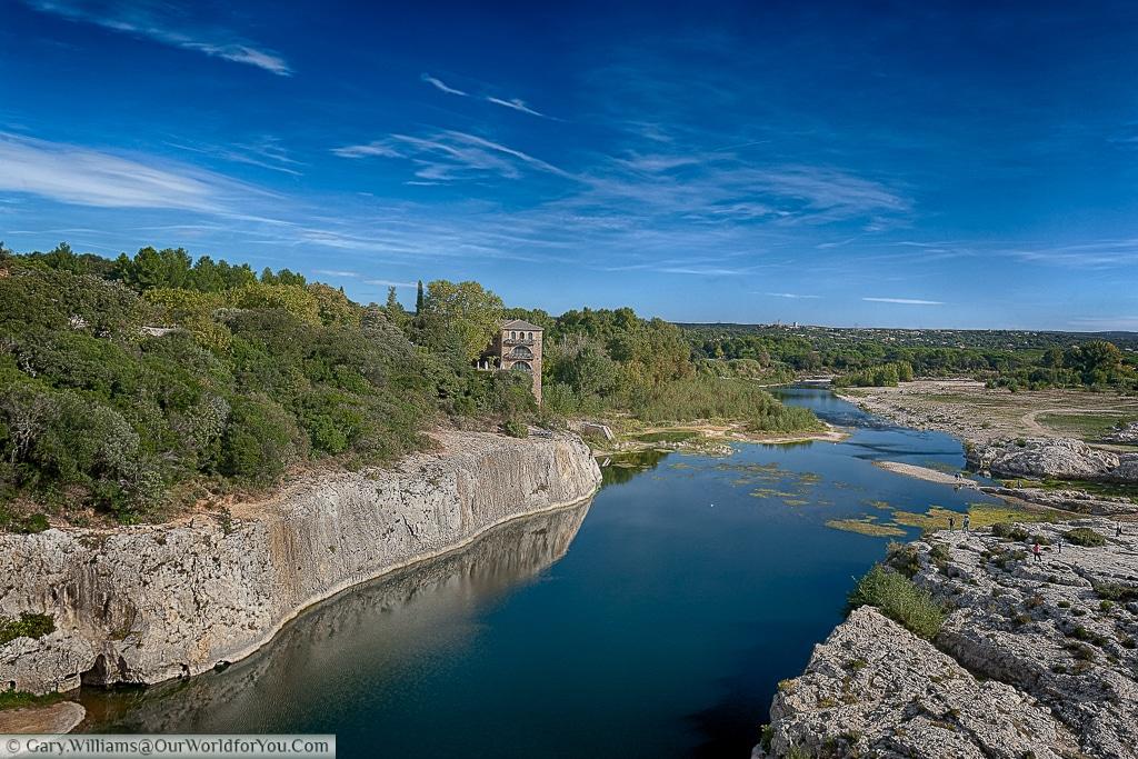 The Gardon river from the Pont du Gard, France
