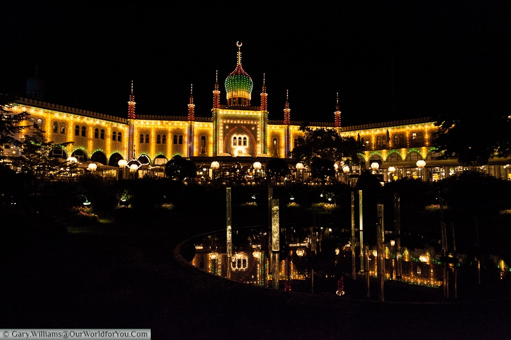The Glass Hall Theatre at night in the Tivoli Gardens, Copenhagen, Denmark
