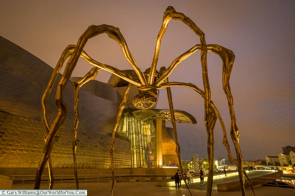 One Louise Bourgeois's Maman Sculptures outside the Guggenheim  , Bilbao, Spain