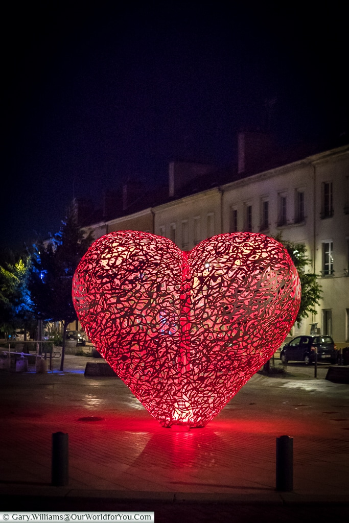 The heart at night, Troyes, Champagne, Grand Est, France