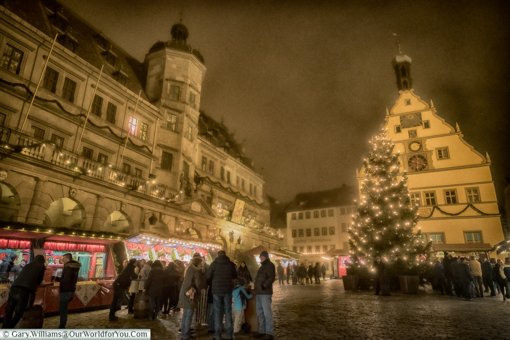 Gathering in Markplatz, Rothenburg ob der Tauber, Germany