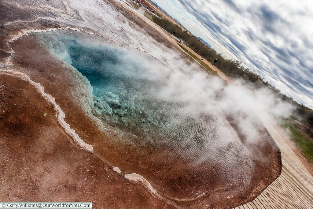 Heat rises from  the deep pools in the Haukadalur geothermal region on the Golden Circle, Iceland