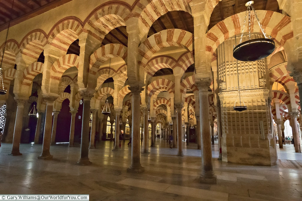 The interior of the Mosque–Cathedral of Cordoba, Córdoba, Spain