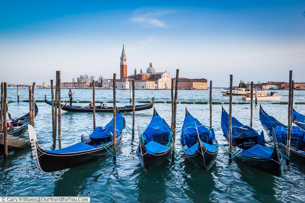 Parked gondolas, Venice, Italy