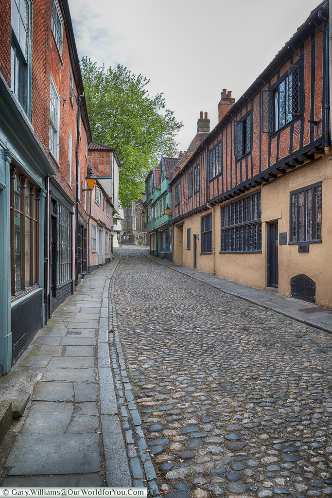 A view of Elm Hill, Norwich, Norfolk, England