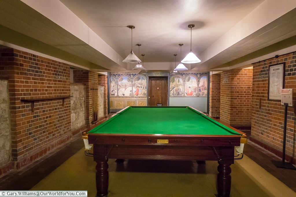 Billiards in the bunker, Eltham Palace, London, England, UK