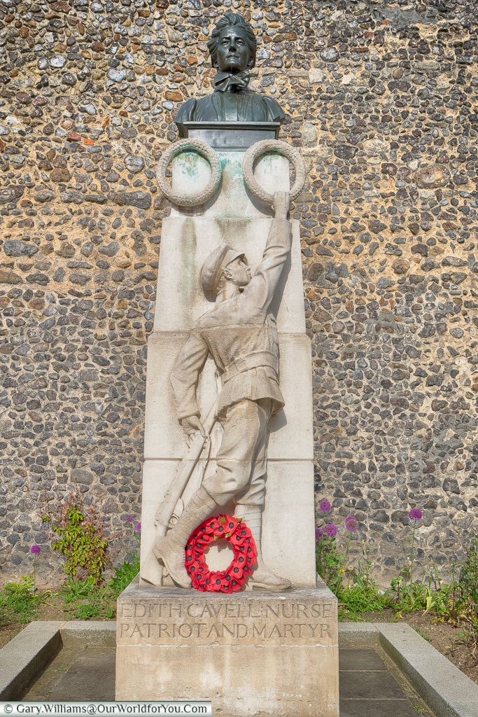 The Statue to Edith Cavell, Norwich, Norfolk, England