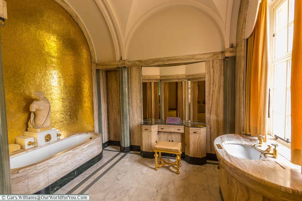 Virginia's bathroom, Eltham Palace, London, England, UK